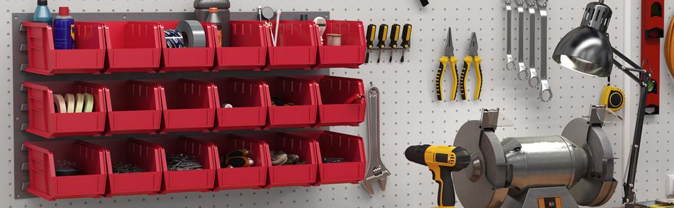 akrobin hanging vertical hospital supply storage storage bin panel workshop wall system garage