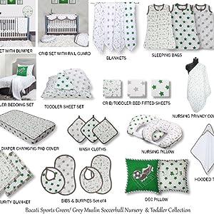 Bacati Soccer Green/Grey Muslin Collection