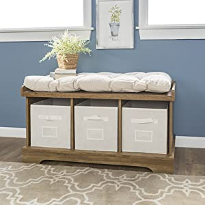 Amazoncom We Furniture 42 Wood Storage Bench With Totes Cushion