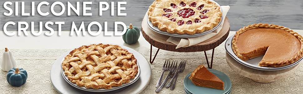 pumpkin pie, cherry pie, apple pie, fall pie, pie on stands, pie with braided crust