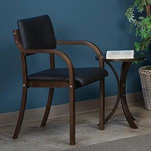 mia, regency, niche, side chair, stack chair, mocha walnut, black vinyl, bentwood, blue wall, chair,