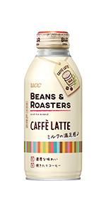 BEANS&ROASTERS, UCC,ミルクコーヒー,カフェインレス,デカフェ,加糖,微糖,低糖,砂糖,牛乳,カフェラテ,定番,まろやか,甘み,缶コーヒー,紙パック,ペットボトル