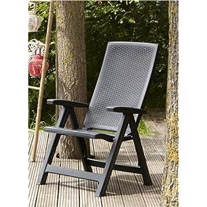 Keter - Silla reclinable de jardín exterior Montreal, Color grafito