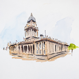 water colour picture of old building
