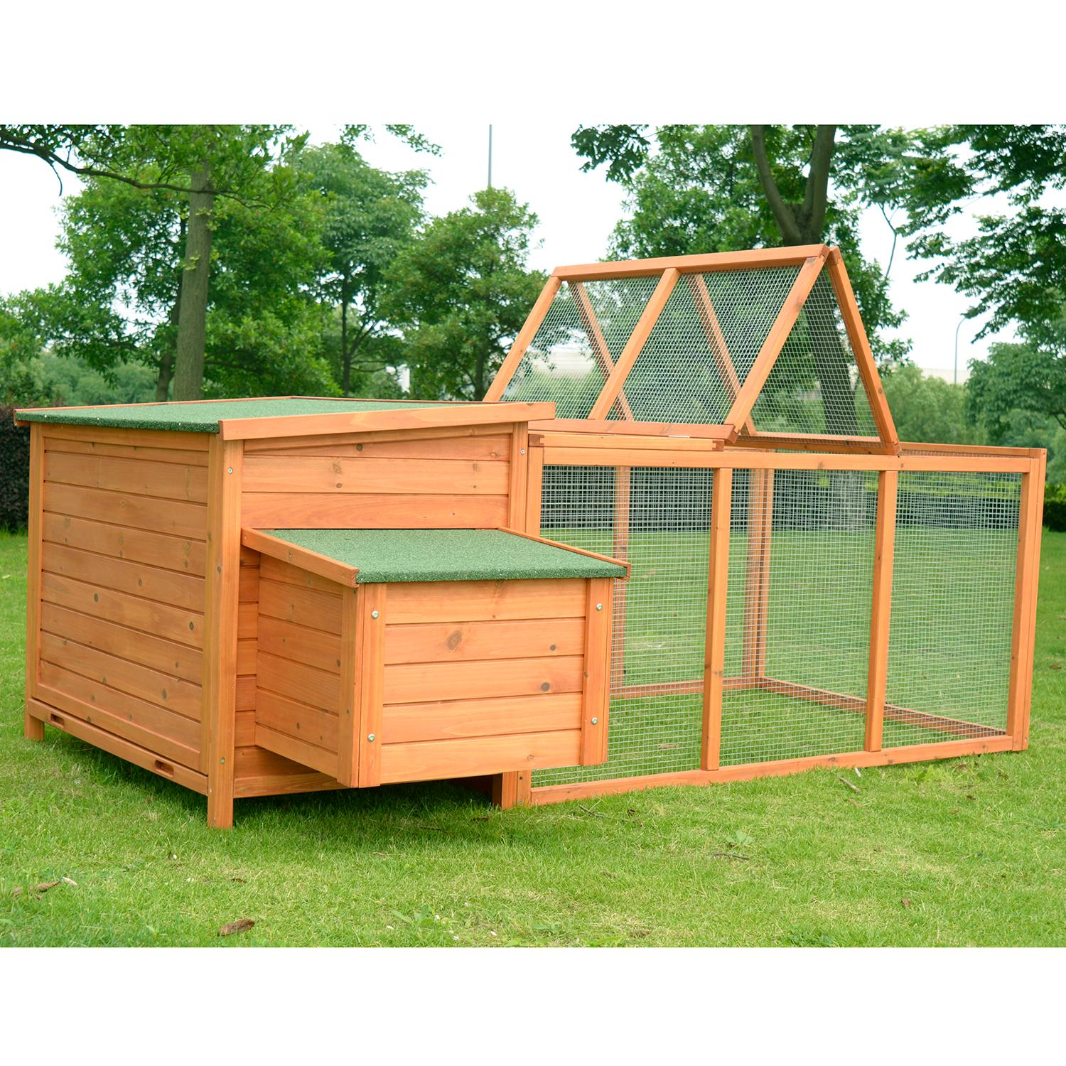 amazon com pawhut deluxe wooden chicken coop with backyard