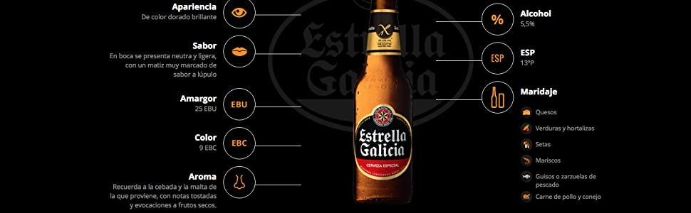 Estrella Galicia Sin Gluten Pack 24 botellines x 33 cl: Amazon.es: Alimentación y bebidas