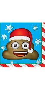 Emoji Christmas Paper Party Napkins Emoji Christmas Party Supplies 16ct Unique Party Favors 50542