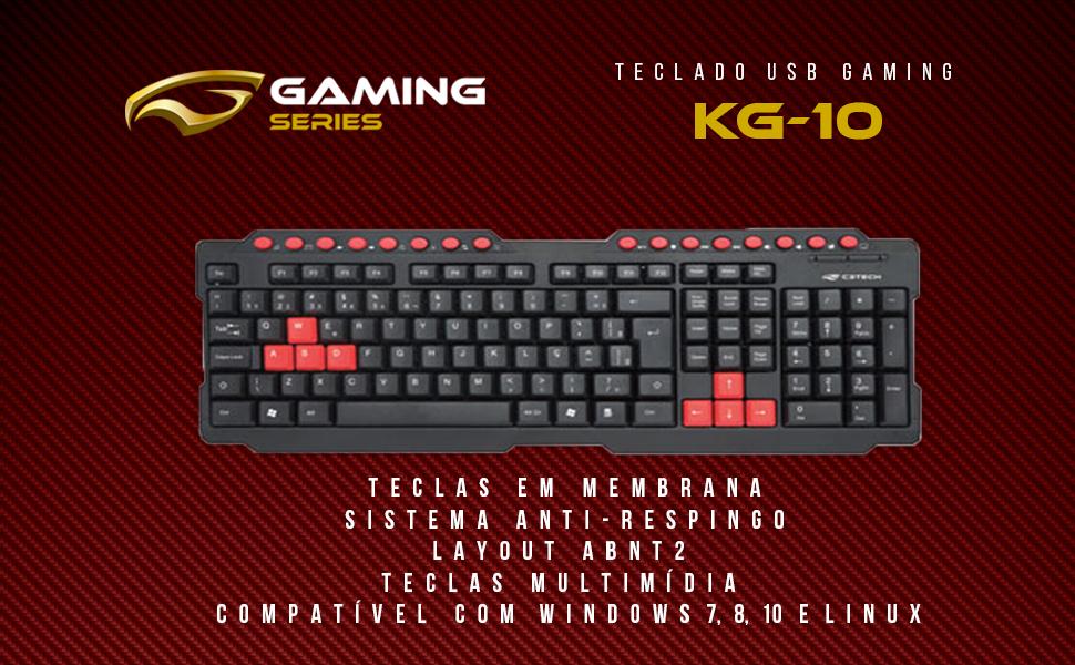 Teclado USB Game KG-10BK, C3TECH   Amazon.com.br