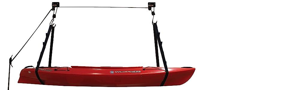 kayak hoist, kayak storage, kayak lift, kayak hanger, sup storage, garage organizer, ceiling hanger
