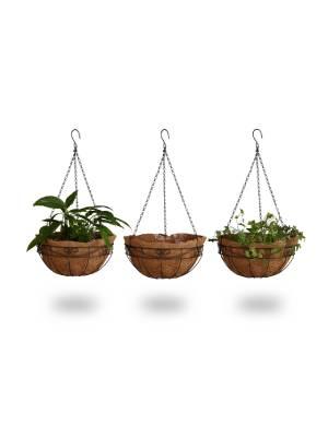 braun Blumen Ampel Korb Hänge Topf Pflanz Schale Pflanzampel aus Kokos Zweigen