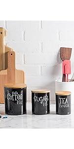 black kitchen canisters;kitchen storage;kitchen ceramic set;kitchen containers;ceramic containers