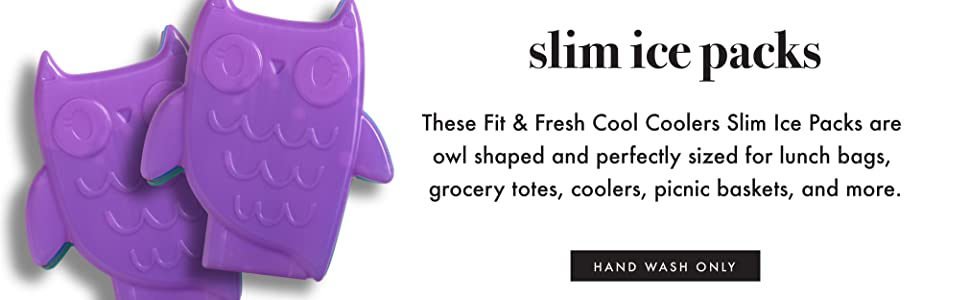 Fit Fresh Cool Coolers Slim Ice Packs Owls Shaped Long Lasting Ice Packs For Lunch Bags Picnic Baskets Coolers And More Set Of 4 Multicolored Kitchen Dining
