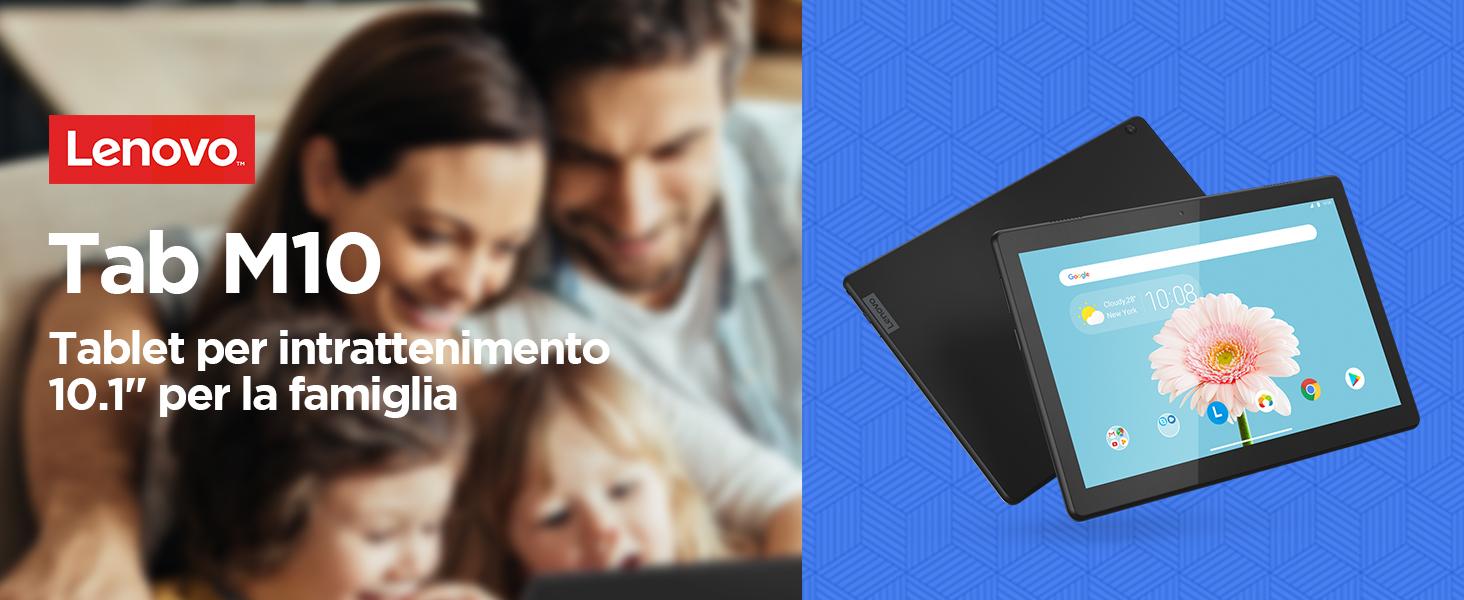 """Lenovo TAB M10 Tablet, Display 10.1"""" HD IPS, Processore Qualcomm Snapdragon 429, 32GB espandibili fino a 128GB, RAM 2GB, WiFi+LTE, Android Oreo, Slate Black"""