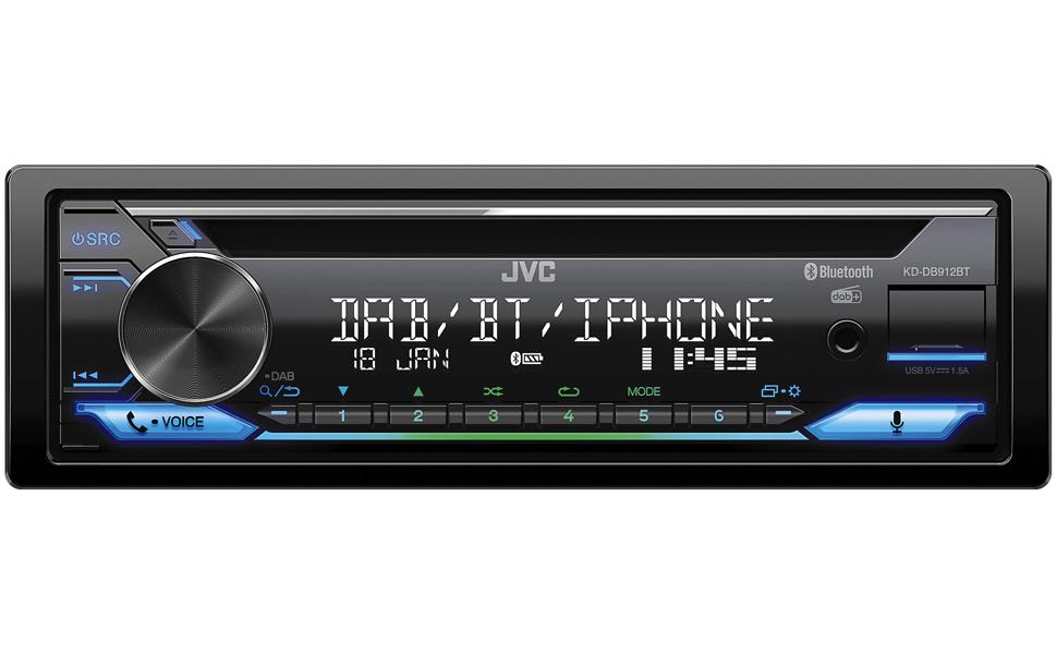 Jvc Kd Db912bt Cd Autoradio Mit Dab Bluetooth Freisprecheinrichtung Alexa Built In Soundprozessor Usb Aux In Spotify Control 4 X 50 Watt Var Beleuchtung Dab Antenne Navigation