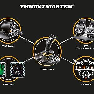 joystick, thrustmaster, simulacion vuelo, realidad virtual, t16000