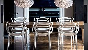 Kartell 5865 09 masters sedia nero 2 pezzi: amazon.it: casa e cucina