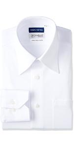 完全ノーアイロン!長袖白レギュラーアイシャツ
