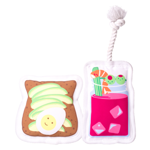 peahead pet toy brunch set. avocado toast and bloody mary. squeaky toys