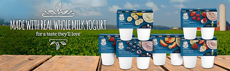 Gerber Yogurt Blends have the nutrition you want, and a taste they'll love.