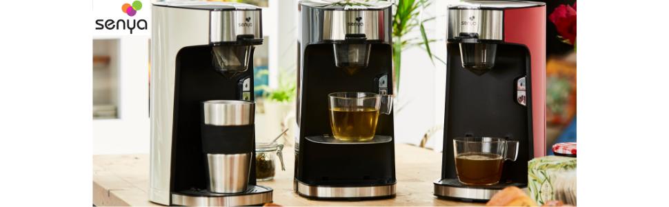 Machine à thé tea time Senya noir rouge et crème. infusion du thé. thé en sachet thé en vrac