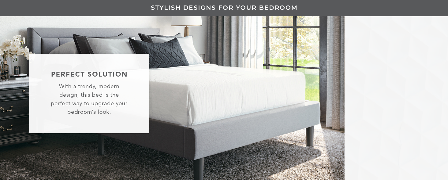 Mornington Upholstered Platform Bed | Headboard and Metal Frame with Wood Slat Support