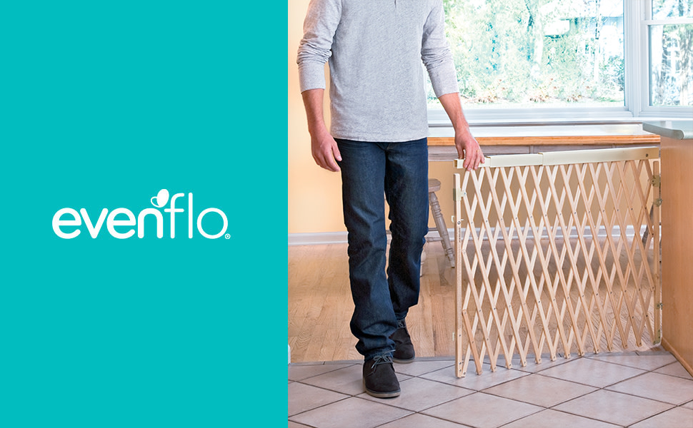 Evenflo Expansion Walk Thru Room Divider Swing Wide Baby Gate Pet Safety Fence