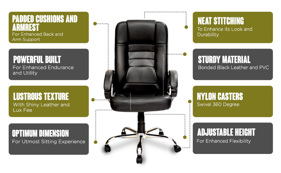 High Living High-Back Executive Office Chair   Desk Chair - Black SPN FOR1C
