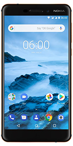nokia, nokia mobile, nokia 6.1, full metal, aluminum, durable, 64gb, black, 16MP, fingerprint, nfc