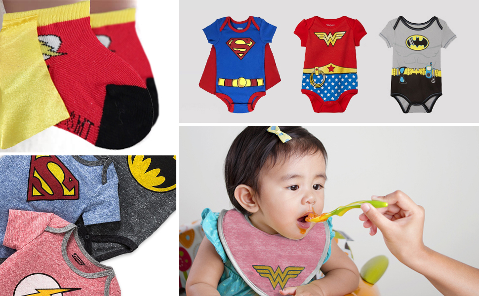 0-12 months Justice League 2 Pack Infant Baby Bibs