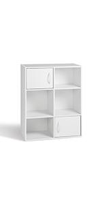 Compo 4 Casiers 2 Portes Meuble de Rangement Etagères Cubes Blanc