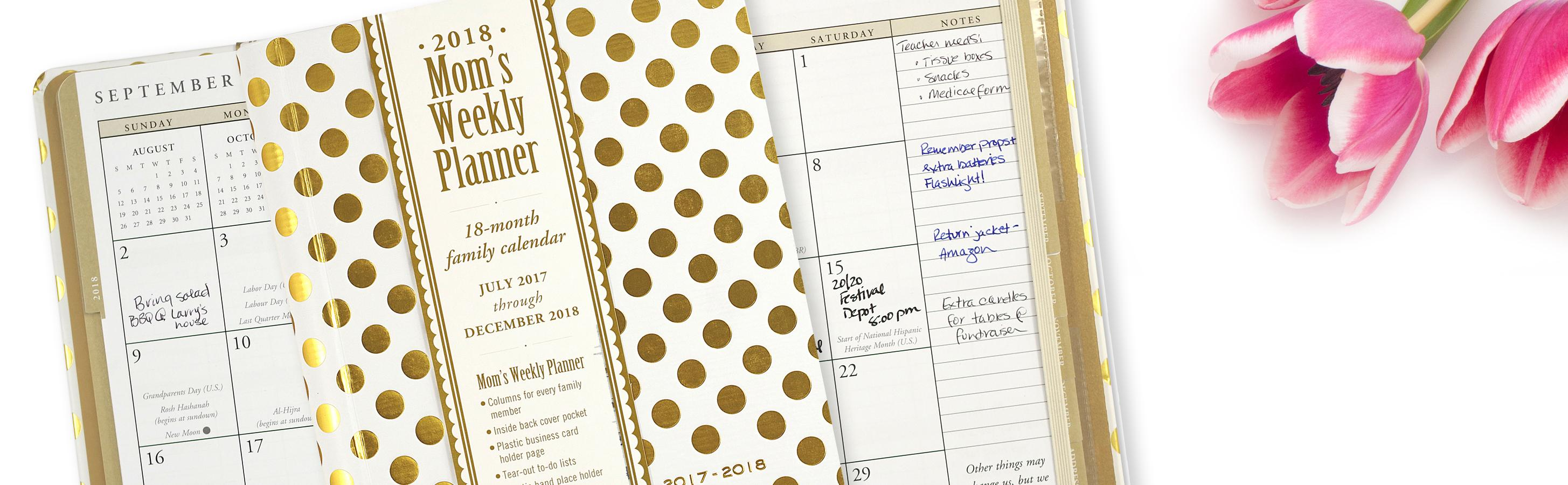 2018 Gold Dots Mom\'s Weekly Planner (18-Month Family Calendar ...