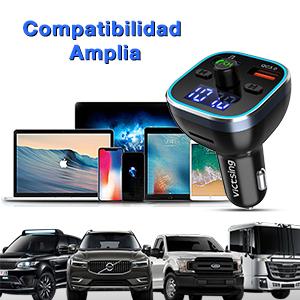 Transmisor FM Bluetooth V5.0, [RGB 7 Colores Luz de Anillo] VicTsing Manos Libres para Coche QC3.0 Carga rápida, Reproductor MP3 Coche, Adaptador de ...
