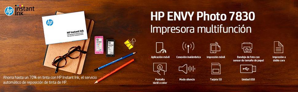 HP Envy Photo 7830 – Impresora multifunción inalámbrica (tinta, Wi-Fi, copiar, escanear, alimentador automático de documentos, 1200 x 1200 ppp), color negro: Hp: Amazon.es: Informática