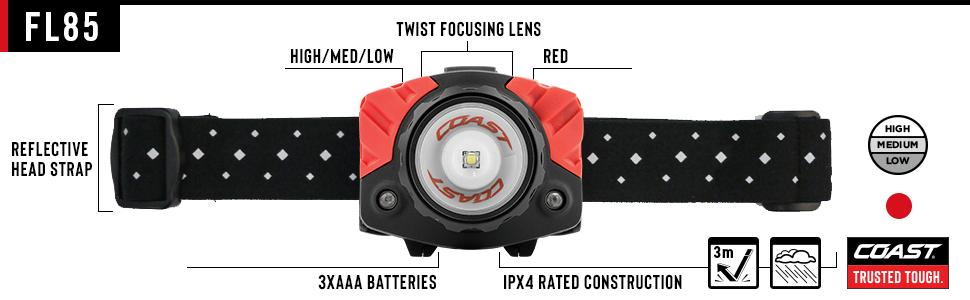 FL85 headlamp twist focusing lens reflective strap waterproof