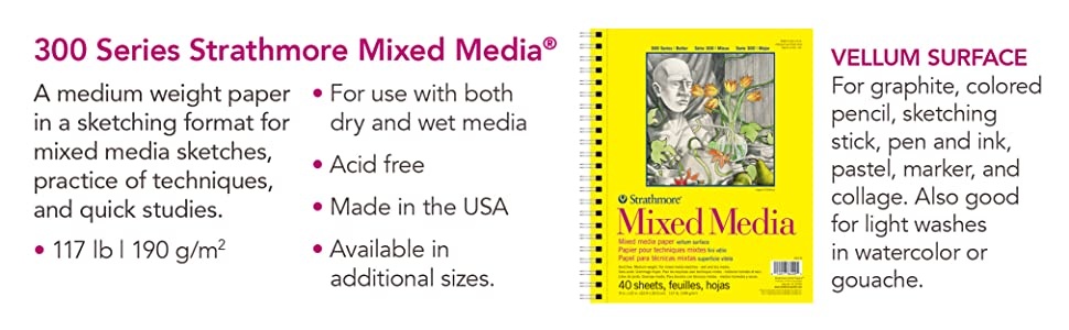 Medium weight art paper, vellum surface, for dry and wet media. Draw, paint