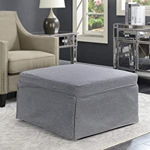 Convenience Concepts Ottoman Soft Gray Fabric