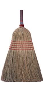"Weiler 44547 Household Upright Broom, Corn amp; Fiber Fill, 54"" Overall Length, Pack of 12"
