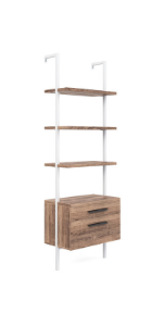 bookshelf bookcase book-shelves leaning-ladder wooden-storage space-saver 3-tier drawers home-office