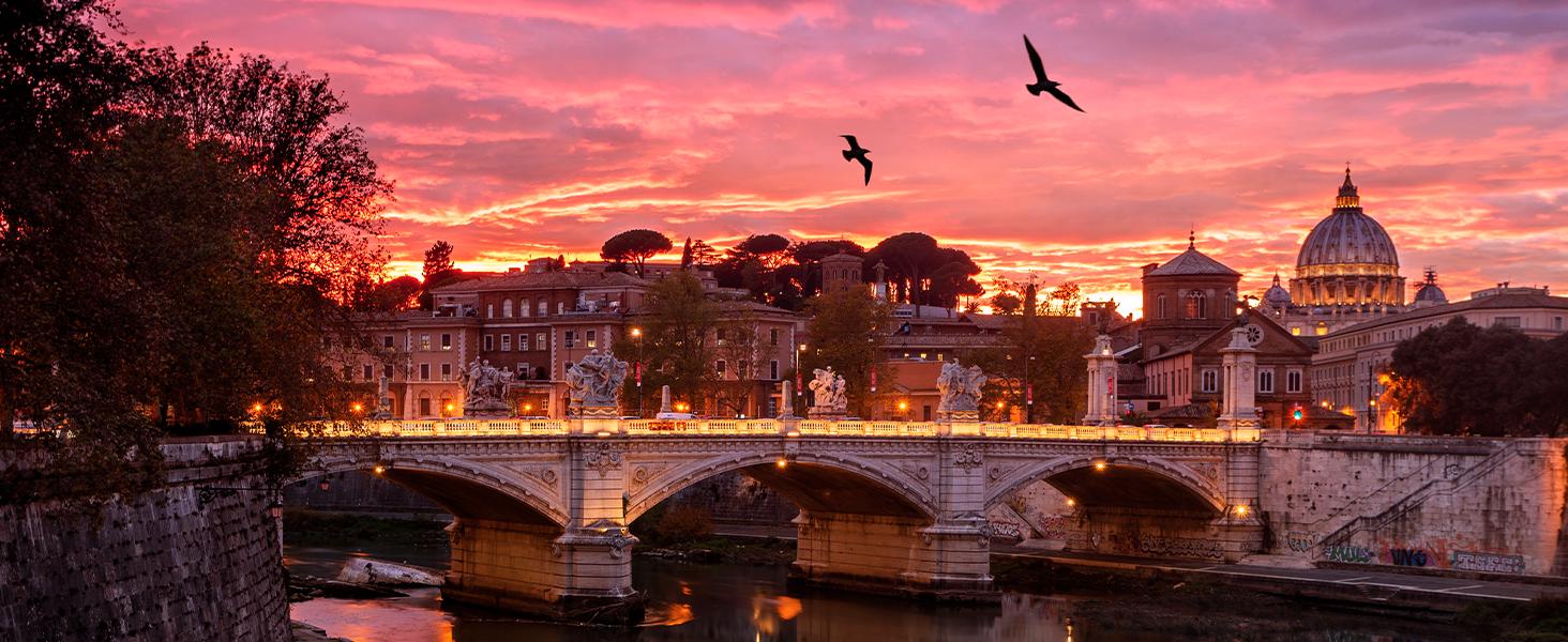 Sonnenuntergang über einem fluss in der stadt: perfekt für den hohen kontrast von active hdr