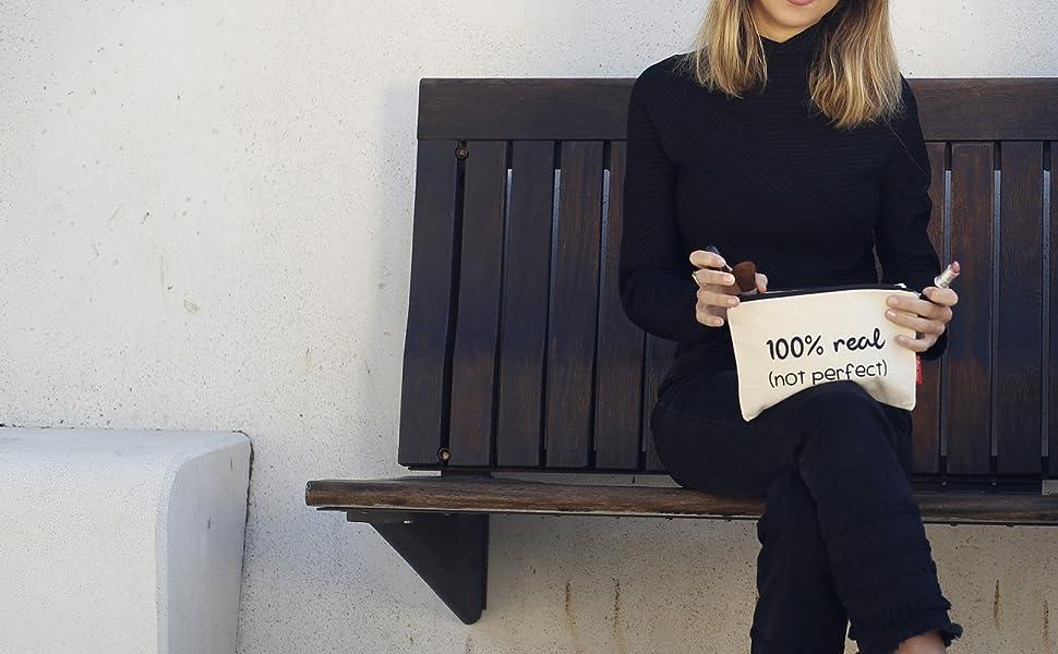 Hello-Bags Bolso Neceser/Cartera de Mano. Algodón 100%. Blanco con ...