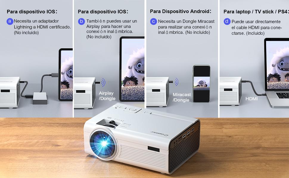 Crosstour Proyector, Mini Proyector Portátil Soporte Full HD Cine ...