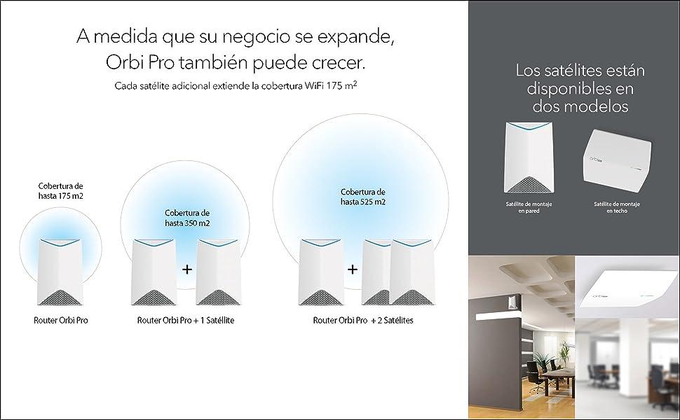 cobertura hasta 175 m2 Netgear Orbi Pro SRS60 Repetidor de WiFi Mesh adicional velocidad AC3000