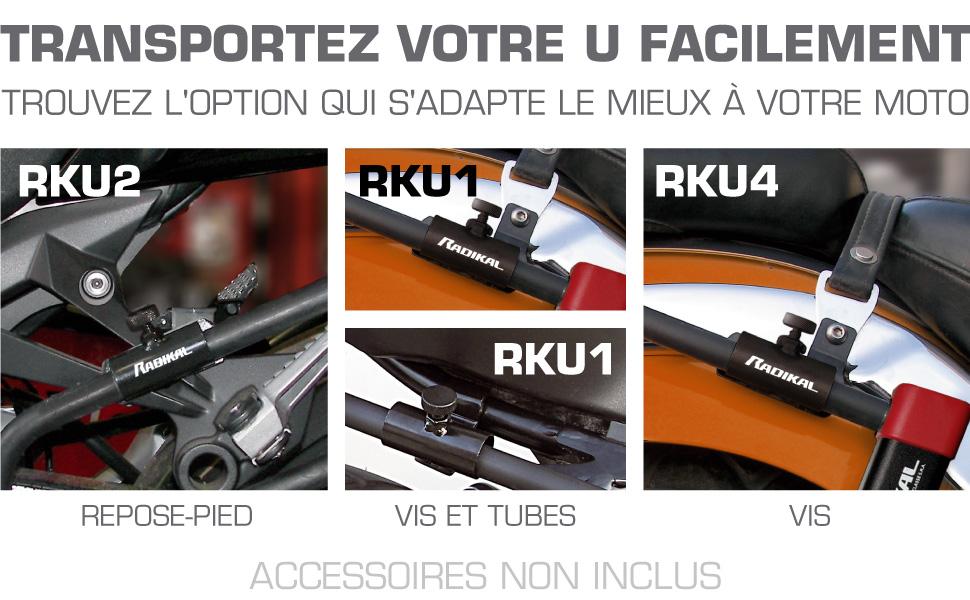 RADIKAL RK120310 Antivol U moto homologu/é SRA /ø18 120x310 Haute qualit/é