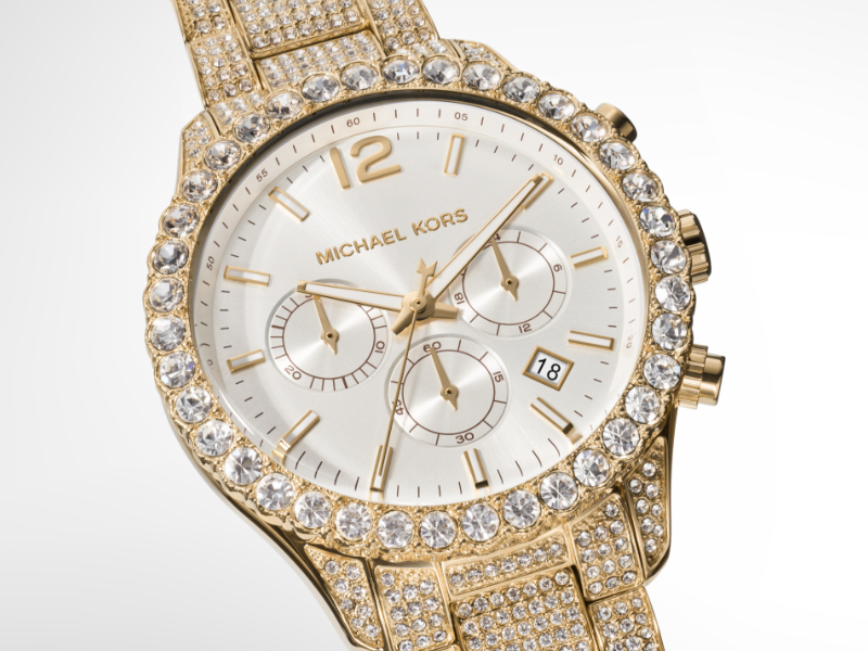 Gold Watch Glitz Dial Chronograph Watch