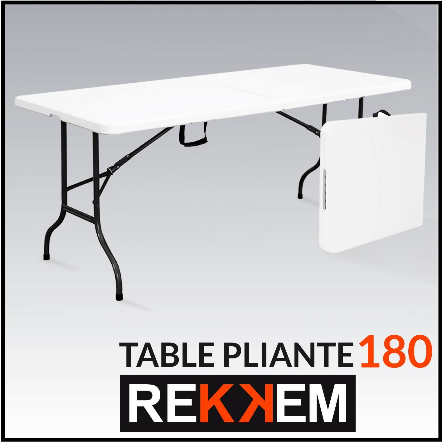 rekkem table pliante blanc noir 180 x 75 x 74 cm 101587 jardin. Black Bedroom Furniture Sets. Home Design Ideas