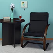 regency, niche, mia, poang, mocha walnut, lounge chair, bentwood, black, round table, room,
