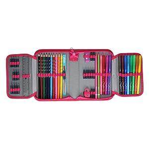 Spirit Astuccio per Studenti 1 Zip 50 Pezzi Colore Rosa Fluo 407193 Motivo Gufo