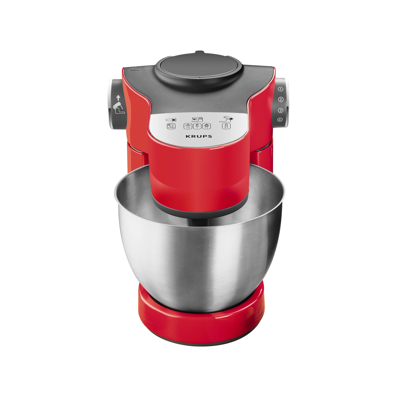 700 W Krups KA2535 K/üchenmaschine Master Perfect Plus 4 L edelstahl//rot Schnitzelwerk und Mixer