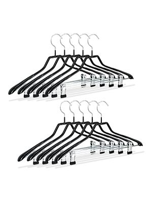 42 x 22,5 x 3 cm Metal y PVC Relaxdays Pack de 10 Perchas Ropa Antideslizantes con Pinzas Negro