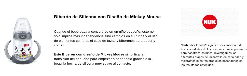 Nuk - Biberón de Silicona con Diseño de Mickey Mouse - Color Negro - 6-18 meses - 150 ml.